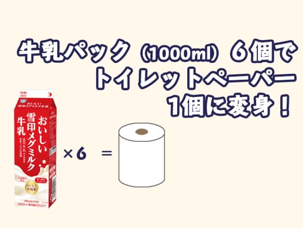 牛乳パック(1000ml)6個でトイレットペーパー1個に変身!